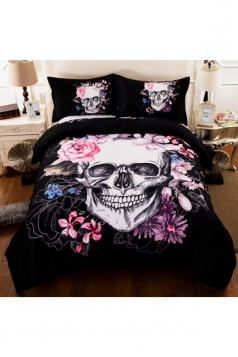 Easeful Soft Floral Three Piece Skull Printed Twin Bedding Sets Black