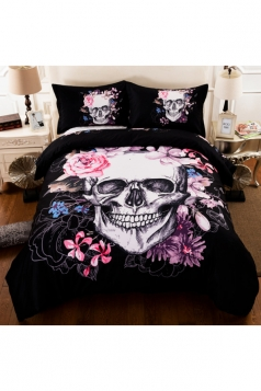 Easeful Soft Floral Three Piece Skull Printed Full Size Bed Sets Black