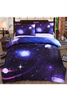 Twin Size Homelike Soft Three Piece Galaxy Bed Set Purple