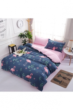 Easeful Soft Flamingo Printed Three Piece Twin Bedding Sets Navy Blue