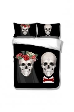 King Size 3D Sugar Skull Couple Bedding Set Black