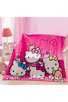 Hello Kitty Sofa Nap Blanket Flannel Throw Blanket Rose Red