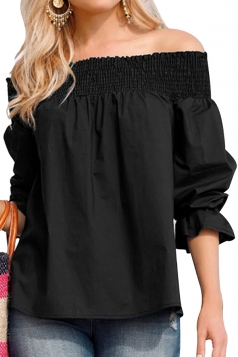 Womens Sexy Off Shoulder Puff Sleeve Back Bow Loose Blouse Black