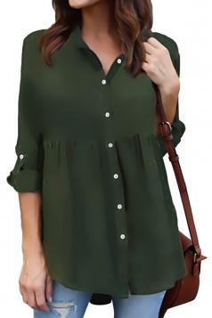 Womens Turndown Long Sleeve Button Ruffle Chiffon Blouse Army Green