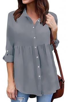 Womens Loose Turndown Long Sleeve Button Ruffle Chiffon Blouse Gray