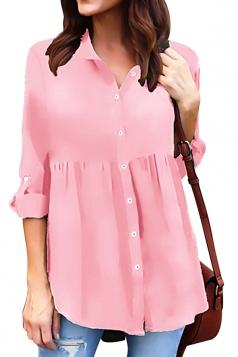 Womens Loose Turndown Long Sleeve Button Ruffle Chiffon Blouse Pink