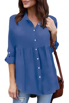 Womens Turndown Long Sleeve Button Ruffle Chiffon Blouse Sapphire Blue