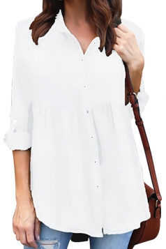 Womens Loose Turndown Long Sleeve Button Ruffle Chiffon Blouse White