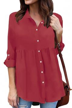 Womens Loose Turndown Long Sleeve Button Ruffle Chiffon Blouse Ruby