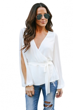 Womens Sexy V Neck Slit Sleeve Waist Tie Wrap Chiffon Blouse White