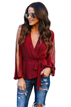 Womens Sexy V Neck Slit Sleeve Waist Tie Wrap Chiffon Blouse Ruby