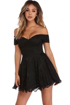 Womens Off Shoulder Strapless Plain Mini Party Lace Skater Dress Black