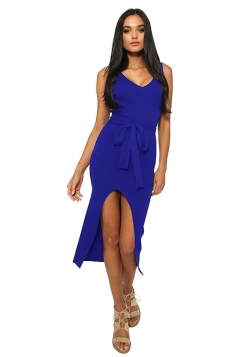 Womens Sexy V Neck Sleeveless Waist Belt Slit Plain Midi Dress Blue