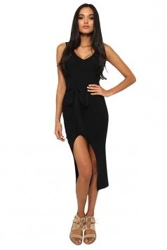 Womens Sexy V Neck Sleeveless Waist Belt Slit Plain Midi Dress Black