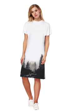 Womens Short Sleeve Slit Misty Forest Printed Dress Black And White