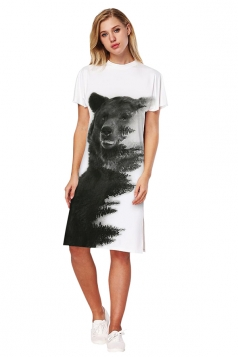 Womens Oversized Short Sleeve Side Slit Bear Printed Dress Dark Gray