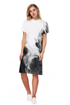 Womens Oversized Short Sleeve Side Slit Printed Dress Gray
