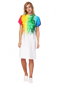 Womens Oversized Short Sleeve Side Slit Oil Paint Printed Dress