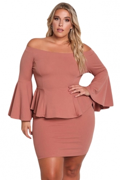 Womens Oversized Off Shoulder Bell Sleeve Peplum Plus Size Dress Pink