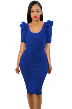 Womens Ruffle Shoulder Short Sleeve V Neck Midi Bodycon Dress Blue