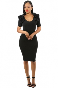 Womens Ruffle Shoulder Short Sleeve V Neck Midi Bodycon Dress Black
