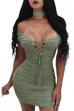 Womens Sexy Off Shoulder Back Zipper Pleated Club Dress Army Green