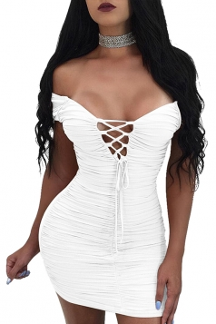 Womens Cross Lace Up V Neck Off Shoulder Pleated Mini Club Dress White