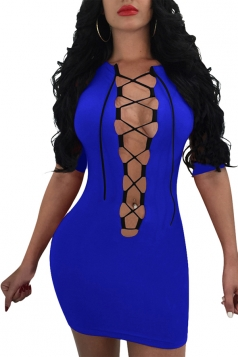 Womens Sexy Deep V Half Sleeve Bodycon Plain Club Dress Sapphire Blue