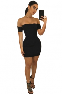 Womens Off Shoulder Back Cross Lace Up Bodycon Plain Club Dress Black