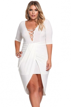 Womens Criss-cross Deep V Neck Slit Plus Size Bodycon Midi Dress White