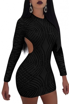 Womens Mock Neck Long Sleeve Open Back Sequined Mini Club Dress Black
