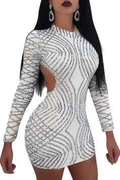 Womens Mock Neck Long Sleeve Open Back Sequined Mini Club Dress White