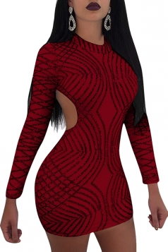 Womens Mock Neck Long Sleeve Open Back Sequined Mini Club Dress Ruby