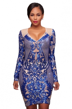 Womens Sexy V Neck Long Sleeve Sequined Bodycon Party Club Dress Blue