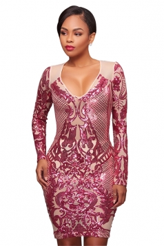 Womens Sexy V Neck Long Sleeve Sequined Bodycon Club Dress Rose Red