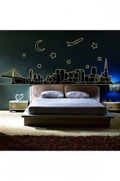 City Night View Fluorescent 3D Wall Stickers Decal Black