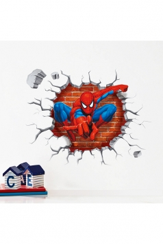3D Spider Man Pattern Wall Sticks For Kids Room Wall Decal Red