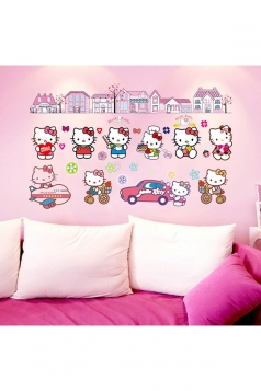 Cute Cartoon Hello Kitty Background Wall Stickers Red