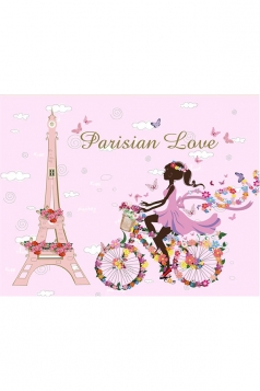 Flower Bicycle Butterfly Flower Tower Wall Sticker Wall Decals Pink