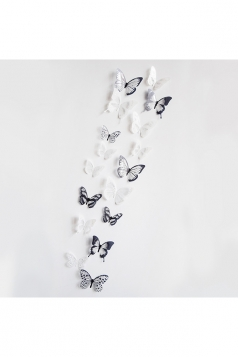 3D Butterfly Wall Decal Stickers Black And White 18 Pieces