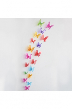 3D Butterfly Wall Decal Stickers Red 18 Pieces