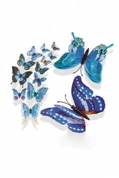 12 PCs PVC Butterfly Decals 3D Wall Stickers Home Decor Blue