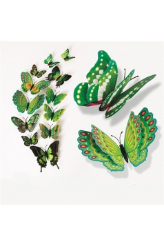 12 PCs PVC Butterfly Decals 3D Wall Stickers Home Decor Green