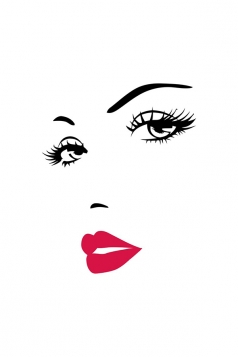 Marilyn Monroe Face And Lips Wall Stickers Black