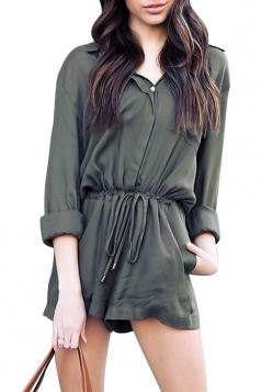 Womens Elegant Waisted V Neck Long Sleeve Turndown Pocket Romper Green