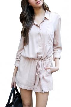 Womens Elegant Waisted V Neck Long Sleeve Turndown Pocket Romper Pink
