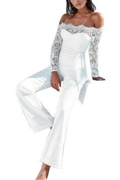 Womens Sexy Splicing Eyelash Lace Off Shoulder Belted Jumpsuit White