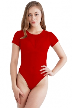 Womens Sexy Sheer Short Sleeve Crew Neck Plain Bodysuit Red