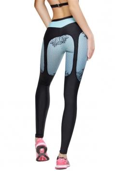 Womens Sexy High Waist Mesh Patchwork Yoga Sports Leggings Green
