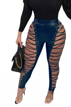 Womens High Waist Eyelet Cross Lace Up Cut Out Leather Leggings Blue